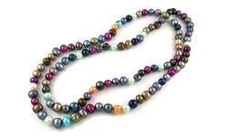 "Sterling Silver Women's Genuine Pearl Necklace - Multi - Size: 36"""