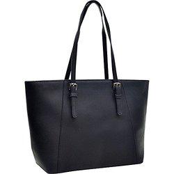 Dasein Faux Leather Buckle Strap Tote Satchel Shoulder Bag - Black