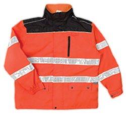ML Kishigo RWJ105 Charcoal Black Series High-Viz Rainwear Jacket, Fits 2X-Large and 3X-Large, Orange