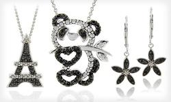 DB Designs Women's SS Black Diamond Accent Panda Bear Necklace