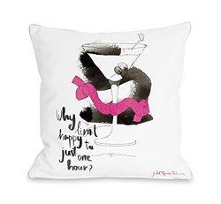 "Bentin Home Decor Martini Throw Pillow Cover by Judit Garcia Talvera, 18""x 18"", White/Multi"