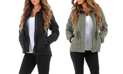 Women's Lined Military Jacket: Olive/large