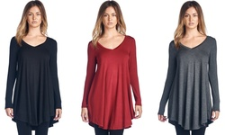 Women's V-neck Print Long Tunic Top: Red/small