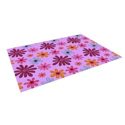 "Kess InHouse Jane Smith ""Woodland Floral"" Purple Flowers Outdoor Floor Mat/Rug, 5 by 7-Feet"
