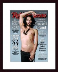Printfinders Rolling Stone Volume 1106 Cover of Russell Brand Wood Framed Art Print