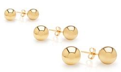 Best Silver 314K Gold Ball Stud Earrings - Gold - Size: 3mm