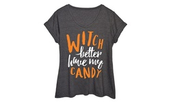 Ladies' Plus-Size Halloween Tees - Witch Better Have My Candy - Grey - 3XL