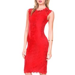 Stanzino Women's Sleeveless Lace Dresses Special - Red - Size: Large