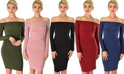 Bold Move Off The Shoulder Long Sleeve Midi Dress: Denim Blue - Medium