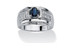 PalmBeach Men's 153 TCW Oval Genuine Midnight Blue Sapphire Zirconia Ring