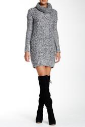 Cliche Cowl Neck Sweater Dress - Gray - Size: Small