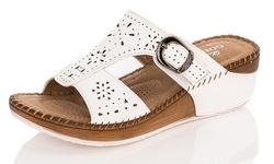 Lady Godiva Women's Comfort Wedge Sandal - White - Size: 6.5