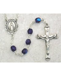 September Sapphire 6mm Aurora Glass Bead Ab Blue Rosary