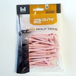 H2 Golf Company 2 3/4-Inch Wooden Golf Tee - 6-Pack of 50 - Pink