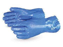 "Superior Glove 12"" Anti-Impact Nitrile Coated Work Gloves - Blue - Size: L"