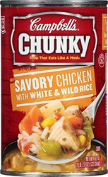 Campbell's Chunky Soup, Savory Chicken with White & Wild Rice, 18.8 Ounce (Pack of 12)