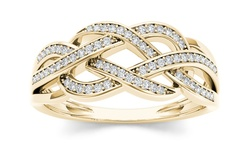 10k Yellow Gold 1/5ct TDW Diamond Swirling Fashion Ring (H-I, I2) - Size:7