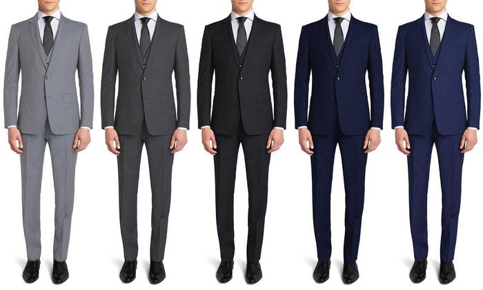 1743da366e9 Gianni Uomo Men s 3-Piece Suit - Grey - Size  36S 30W - Check Back ...