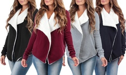 Kelsey Women's Draped Cardigan with Sherpa Lining - Gray - Size: Large