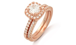Cubic Zirconia 18K Double Halo Cushion Cut Ring 2Pc - Rose Gold - Size: 8