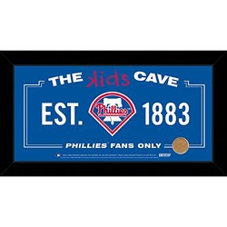 """MLB Philadelphia Phillies Kids Cave Sign with Game Used Dirt from Citizens Bank Park, Blue, 6"""" x 12"""""""