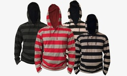 Bargain Hunters Men's Lightweight Striped Pullover Hoodie - Red - Size: L