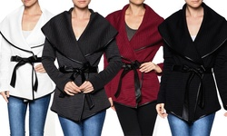 Women's Quilted Wrap Jacket: Wine/large