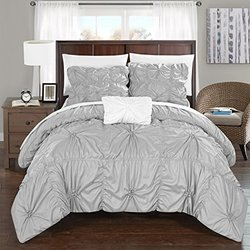 Chic Home DS2247-AN Hamilton 4Piece Hamilton Floral Pinch Pleat Ruffled Designer Embellished Queen Duvet Cover Set Silver,Queen