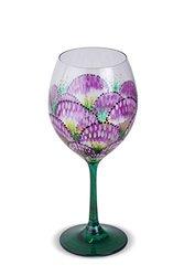 Hand Painted Wine Glass Flower Fan 4 piece- HP5019
