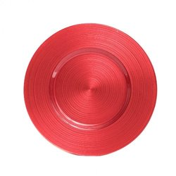 Koyal Wholesale Ripple Glass 4 Count Charger Plates, Coral