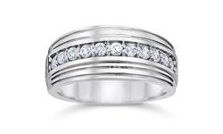 1/2 Carat Men's Diamond Wedding Ring 10K White Gold - Size: 10