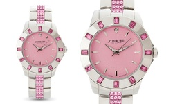 Jeremie Sion Paris Women's Quartz Watch with 40 Swarovski Crystals - Pink