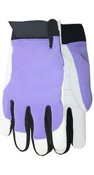 Goatskin Women's Wrist Glove 3 Pk - Purple/White - Size: Medium