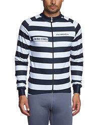 Jolly Wear Men's Cycling Long Sleeve Jersey - Prison Stripes - Size: Large
