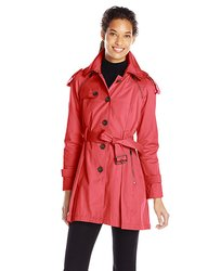 French Connection Women's Hooded Trench Coat - Red - Size: XL