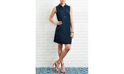 Sharagano Women's  Button Front Shirt Dress - Dark Twilight - Size: 4