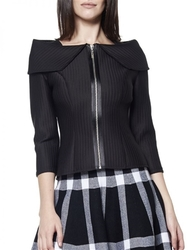 Gracia Long Sleeve Big Collar Scuba Top - Size: Small