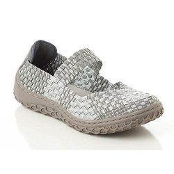 Corkys Women's Liz Fashion Woven Flats Shoes - Silver - Size: 7