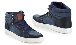 Franco Vanucci Men's Lace Up High Top Sneakers - Navy - Size: 11