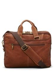 Kenneth Cole Men's Double-Gusset Leather Briefcase - Cognac
