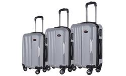 Brio Luggage 3-Piece Hardside Spinner Luggage Set - Silver
