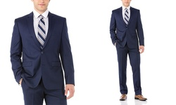Vince Camuto Men's 100% Wool Slim Fit - Blue Twill - Size: 36S/29W