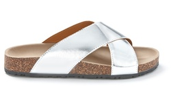 Sociology Women's Footbed Sandals - Silver Metallic - Size: 6
