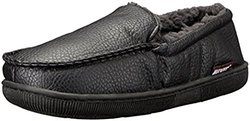 Men's Moccasin Slipper: Black/large
