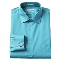Van Heusen Men's Lux Sateen Dress Shirt - Aqua