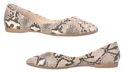 Riverberry Ella Women's Pointed Toe Ballet Flats - Beige/Python - Size: 7