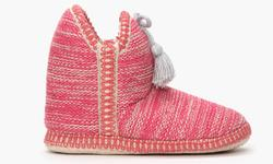 Olive Street Women's Bootie Slippers - Hot Pink Print - Size: 9