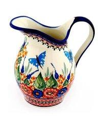 Stoneware Polish 2 QT Handmade & Hand Painted Pitcher - Multi