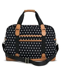 Mossimo Women's Heart Print Weekender Handbag - Black - Size: One Size