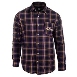 KLEW NFL Baltimore Ravens Wordmark Basic Flannel Shirt, Black, Small